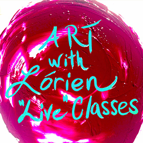 "Image of red paint swatch with text ""Art with Lorien Live Classes"" to navigate to Lorien's zoom page."