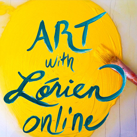 "Image of yellow paint swatch with text ""Art with Lorien Live Classes"" to navigate to Lorien's zoom page."