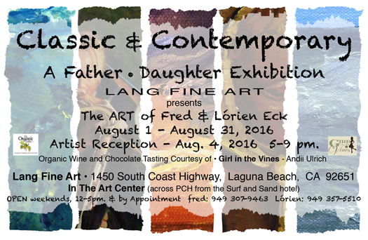 Image of invitation to Fred and Lorien Eck Art Show Laguna Beach