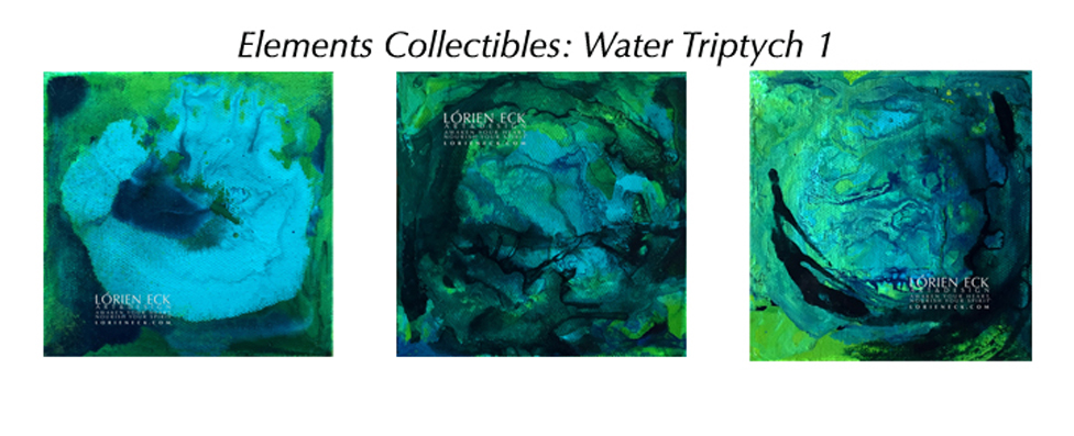 image of Lorien Eck's Water Triptych 1, a mixed media Element Collectible painting
