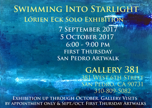 Flyer for Summer Solo Exhibition Swimming into Starlight San Pedro Artwalk