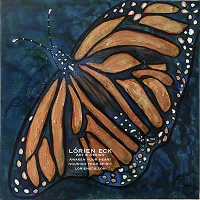 Image of Monarch Butterfly, a mixed media painting by Lorien Eck